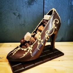 Escarpin garni chocolat au...